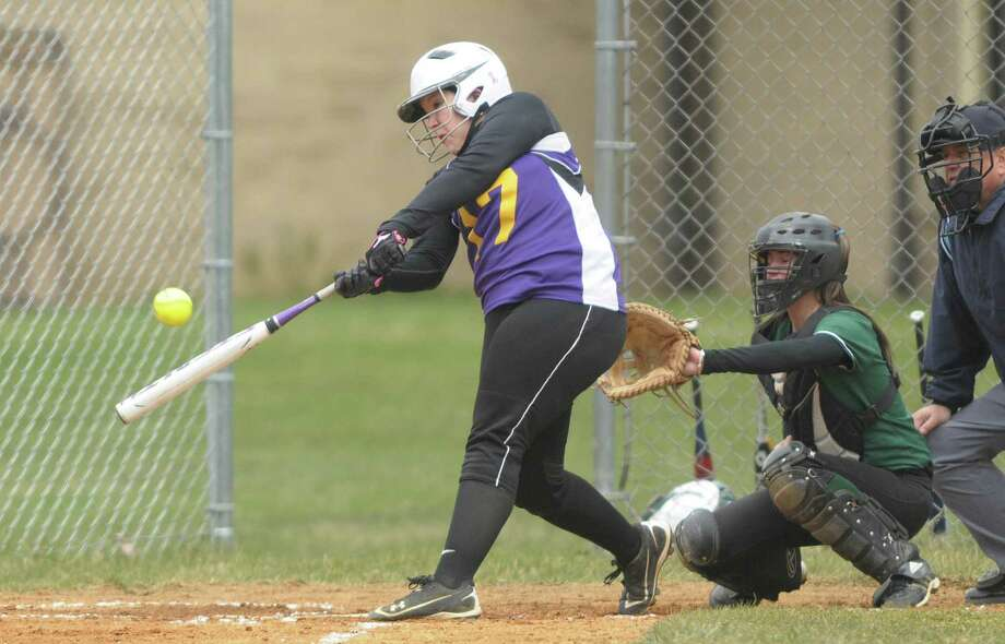 Alicia Crandall of Ballston Spa High School softball team connects with a pitch during their game against Shenendehowa High School on Wednesday, April 11, 2012 in Ballston Spa, NY.     (Paul Buckowski / Times Union) Photo: Paul Buckowski