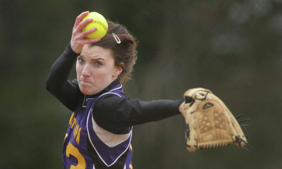 Abby LeBarron of Ballston Spa High School softball team delivers a pitch during their game against S