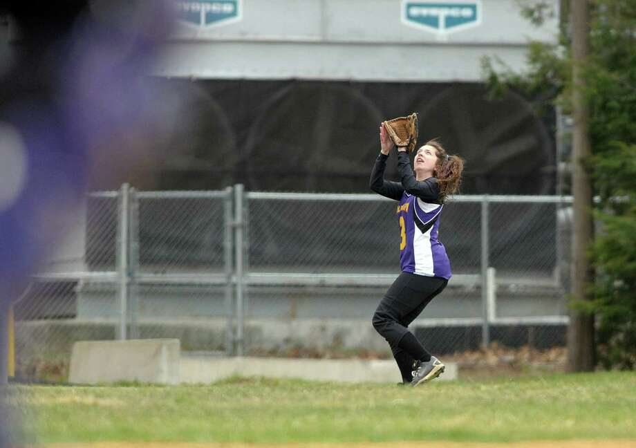 Maddy Fitzgerald of Ballston Spa High School softball team gets under a fly ball to make an out during their game against Shenendehowa High School on Wednesday, April 11, 2012 in Ballston Spa, NY.     (Paul Buckowski / Times Union) Photo: Paul Buckowski