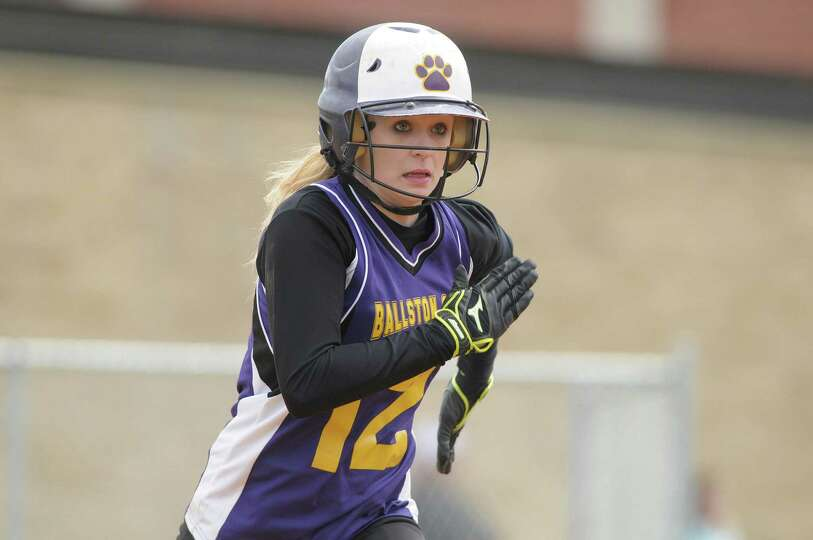Taylor McMahon of Ballston Spa High School softball team sprints towards first base after getting a