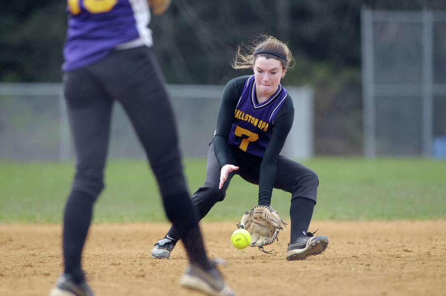 Rachel LeBarron of Ballston Spa High School softball team fields a hit during their game against Shenendehowa High School on Wednesday, April 11, 2012 in Ballston Spa, NY.     (Paul Buckowski / Times Union) Photo: Paul Buckowski