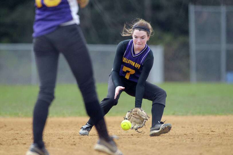 Rachel LeBarron of Ballston Spa High School softball team fields a hit during their game against She