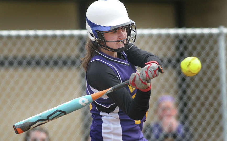 Morissa Woitoski of Ballston Spa High School softball team takes a swing at a pitch during their gam