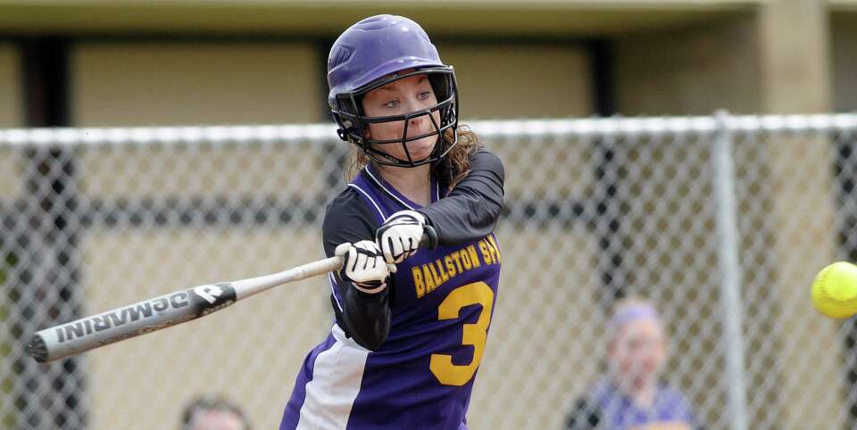 Maddy Fitzgerald of Ballston Spa High School softball team takes a swing at a pitch during their gam