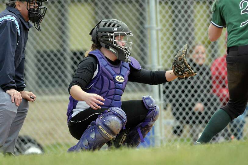 Catcher Alicia Crandall of Ballston Spa High School softball team gets set for the pitch during thei