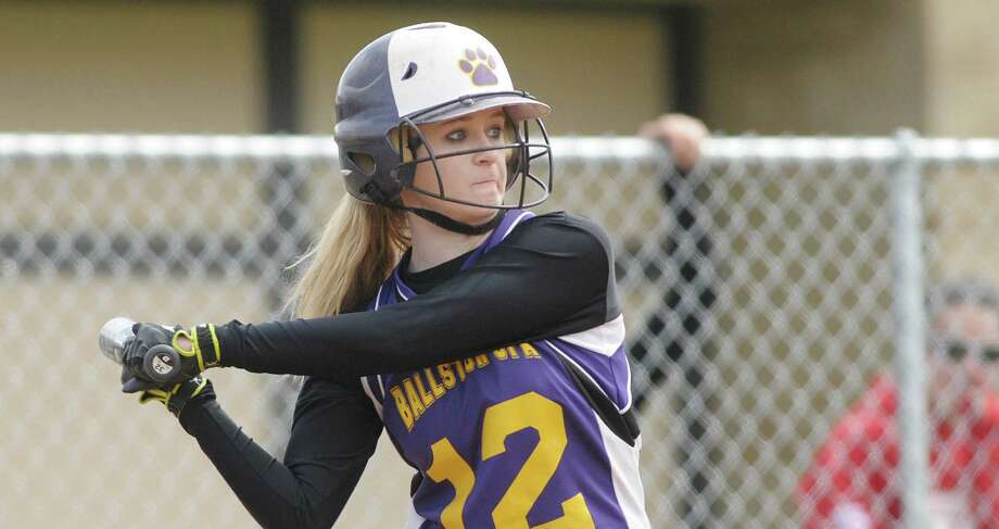 Taylor McMahon of Ballston Spa High School softball team gets set for the pitch during their game against Shenendehowa High School on Wednesday, April 11, 2012 in Ballston Spa, NY.     (Paul Buckowski / Times Union) Photo: Paul Buckowski