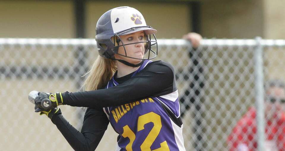 Taylor McMahon of Ballston Spa High School softball team gets set for the pitch during their game ag