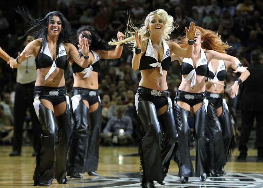 Spurs' Silver Dancers perform during a timeout in a game against the Los Angeles Lakers in the second half at the AT&T Center on Wednesday, Apr. 11, 2012. Spurs lose to the Lakers, 84-98. Kin Man Hui/Express-News. (San Antonio Express-News)