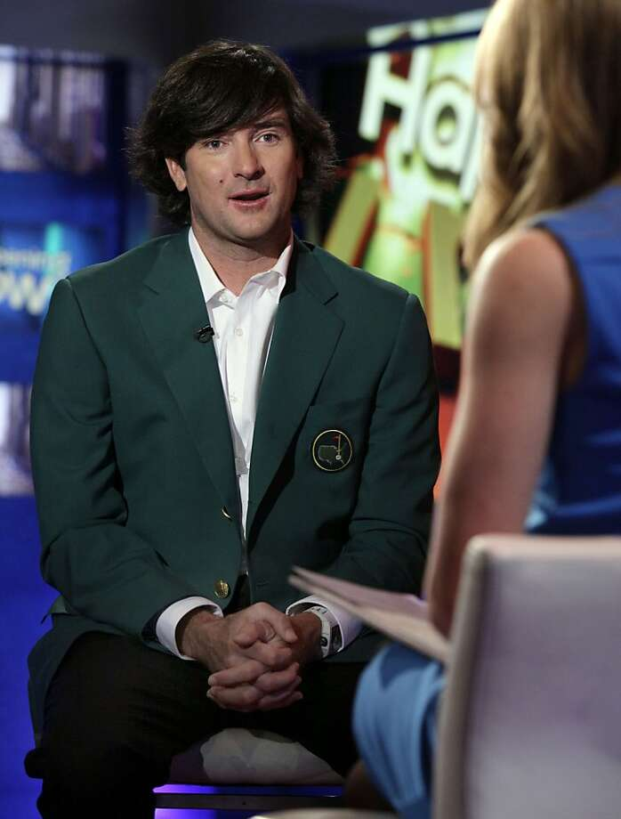 "Masters golf champion Bubba Watson is interviewed by Jenna Lee, co-host of ""Happening Now"" on the Fox News Channel, in New York,  Wednesday, April 11, 2012.  (AP Photo/Richard Drew) Photo: Richard Drew, Associated Press"