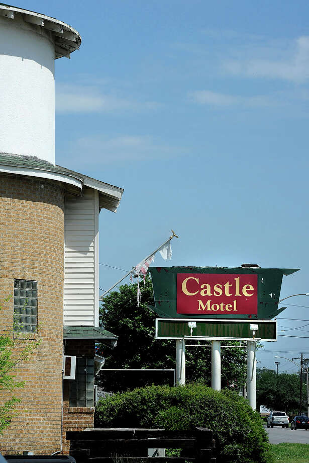 Due primarily to electrical hazards, the city of Beaumont recently condemned and closed the Castle Motel on 11th Street. Known in its early years as an inexpensive pool for kids and rendezvous for post-Harvest Club parties, the motel ended its run with hazardous living conditions and frequent visits from Beaumont Police.  Photo taken Wednesday, April 11, 2012 Guiseppe Barranco/The Enterprise Photo: Guiseppe Barranco, STAFF PHOTOGRAPHER / The Beaumont Enterprise