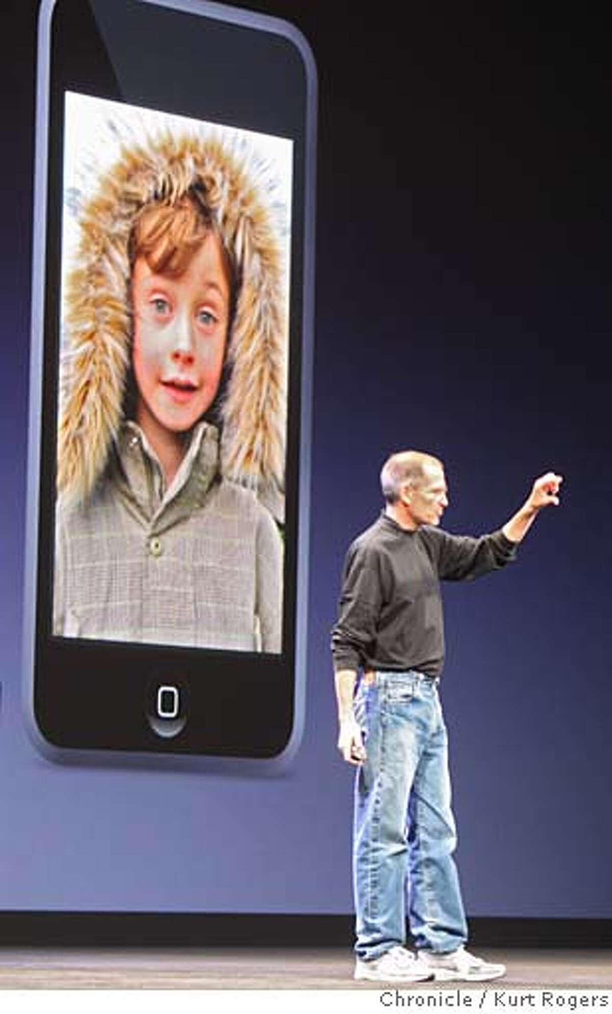 The I Pod Touch Apple's Steve Jobs announces new I pods at the Mascone center in San Francisco. WEDNESDAY, SEPT 5, 2007 KURT ROGERS SAN FRANCISCO SFC THE CHRONICLE APPLE06_299_kr.jpg