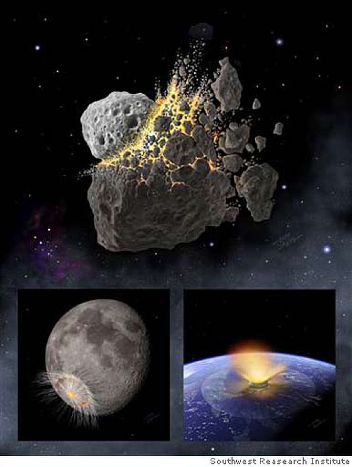 the top picture is supposed to show the collision 160 million years ago �one asteroid crashes into the bigger one; the one with the brightflash below is the big remaining asteroid fragment blasting a crater in the earth is a huge explosive flash like a nuke bomb. The darker imageis the other asteroid fragment blasting the moon to form the well know crater Tycho which Apollo astroauts examined and dated (estimate) but didn't have the tools to analyze. COURTESY OF SWRI/DON DAVIS Ran on: 09-06-2007 A new theory says that a collision between the large asteroid Baptistina and a smaller one (top) created huge fragments that bombarded Earth and the moon, creating the lunar crater Tycho (above), and the dinosaur-killer on Earth. Ran on: 09-06-2007 A new theory says that a collision between the large asteroid Baptistina and a smaller one (top) created huge fragments that bombarded Earth and the moon, creating the lunar crater Tycho (above), and the dinosaur-killer on Earth.