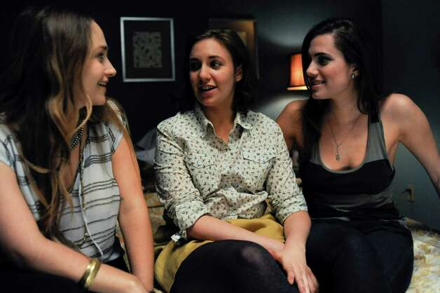 "Jemima Kirke (from left), Lena Dunham and Allison Williams star in  HBO's ""Girls,"" a gritty comedy about a quartet of women in their early  20s. Photo: HBO"