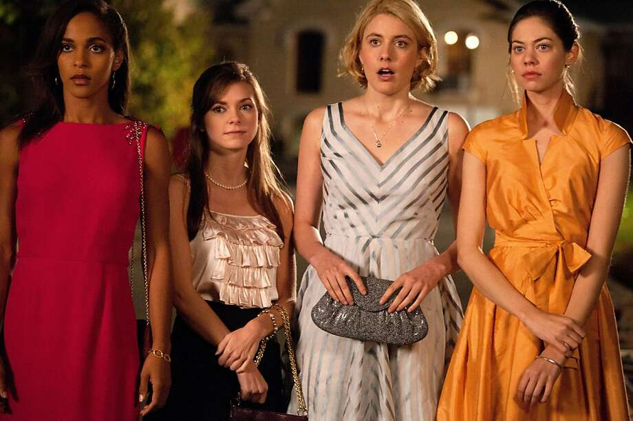 "Left to Right: Megalyn Echikunwoke as Rose, Carrie MacLemore as Heather, Greta Gerwig as Violet and Analeigh Tipton as Lily in, ""Damsels in Distress."" Photo: Sabrina Lantos, Sony Pictures Classics"