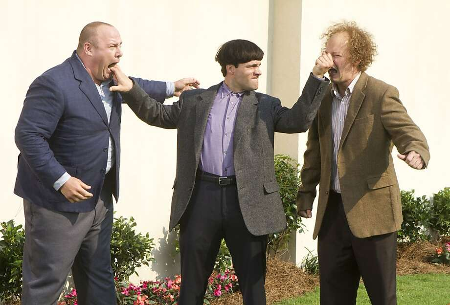 "In this image released by 20th Century Fox, from left, Will Sasso, Chris Diamantopoulos, and Sean Hayes are shown in a scene from ""The Three Stooges."" (AP Photo/20th Century Fox, Peter Iovino) Photo: Peter Iovino, Associated Press"
