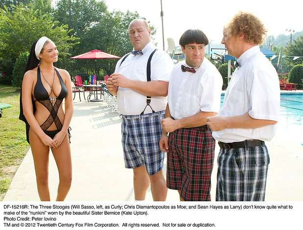 """Kate Upton also starred in """"The Three Stooges,"""" in which she played Sister Bernice, who confounded Curly, Moe and Larry with the nun-kini.  Photo: Peter Iovino, Twentieth Century Fox"""