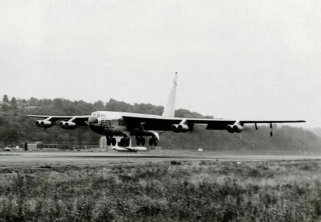 Boeing's first production B-52A makes its first flight, on Aug. 5, 1954, from Boeing Field in Seattle. Photo: The Boeing Co. / SL