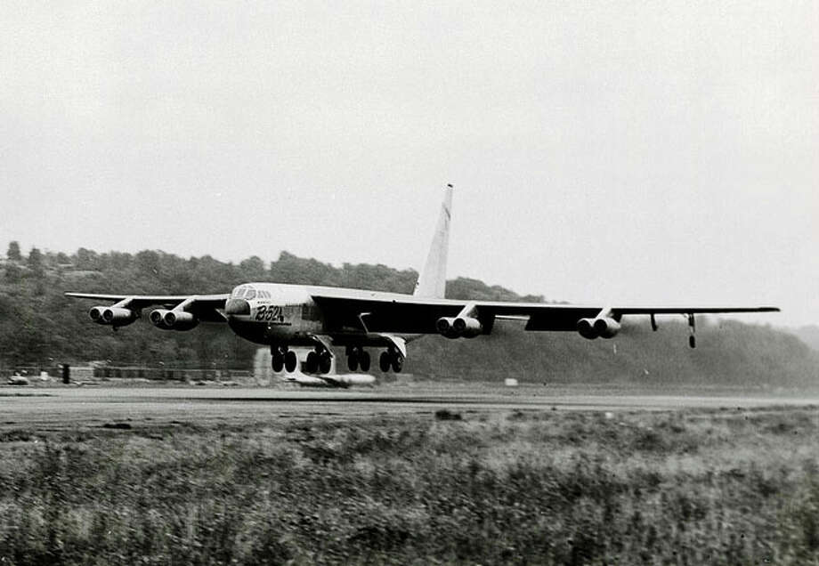 The first production model B-52A makes its first flight, on Aug. 5, 1954, from Boeing Field in Seattle. Photo: The Boeing Co.