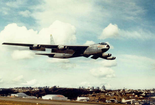 Boeing's B-52 Stratofortress bomber prototype for the U.S. Air Force takes off on its first flight, on April 15, 1952 at Boeing Field in Seattle. Photo: The Boeing Co. /  SL