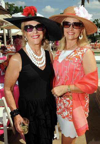 Geri Noel and Karen Patrinely at the River Oaks Country Club's Tennis Tournament Luncheon and Fashion Show Wednesday April 11,2012. (Dave Rossman/ For the Chronicle) Photo: Dave Rossman / © 2012 Dave Rossman