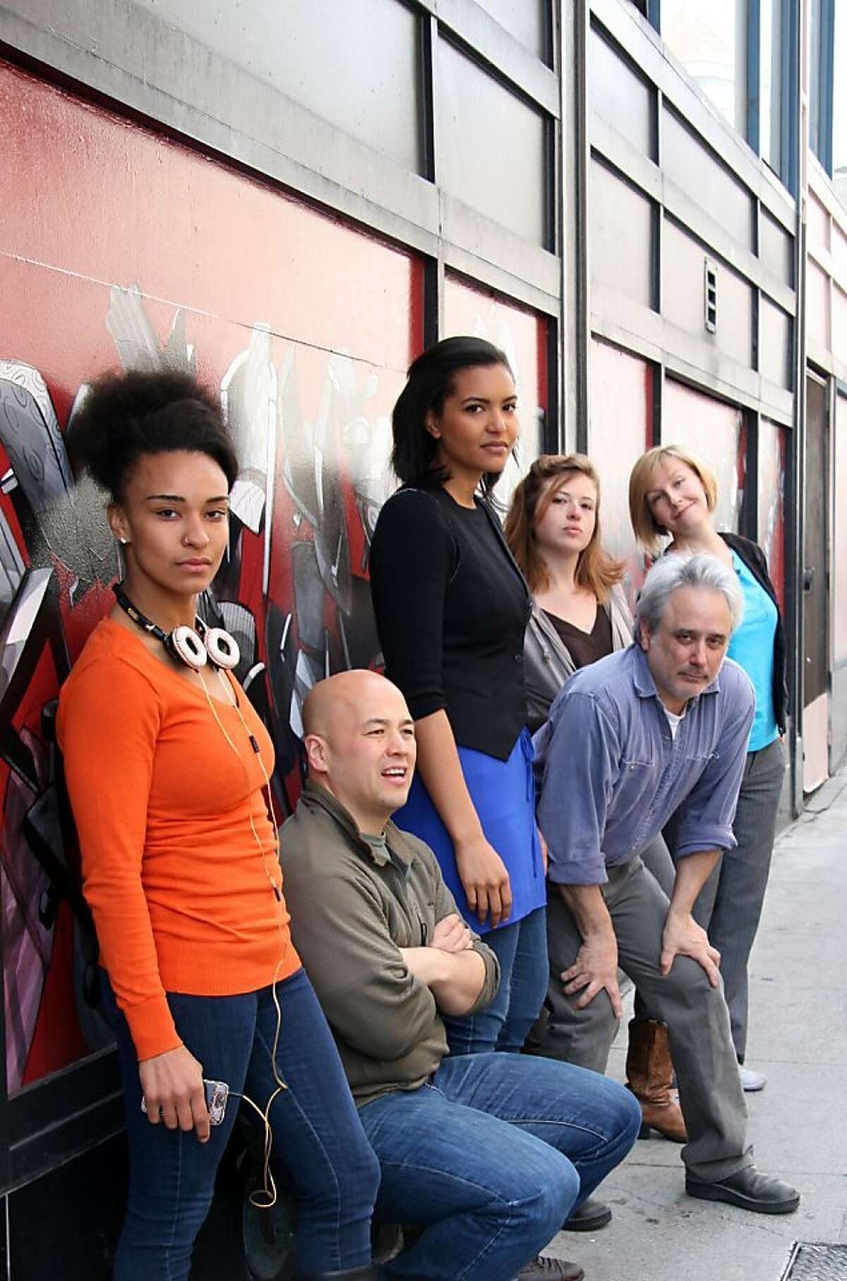 (l to r) Tristan Cunningham, Michael Uy Kelly, Rebecca Frank, David Sinaiko, Leigh Shaw, and Siobhan Doherty tell the stories of people who work and live in the Tenderloin in Cutting Ball Theater's production.