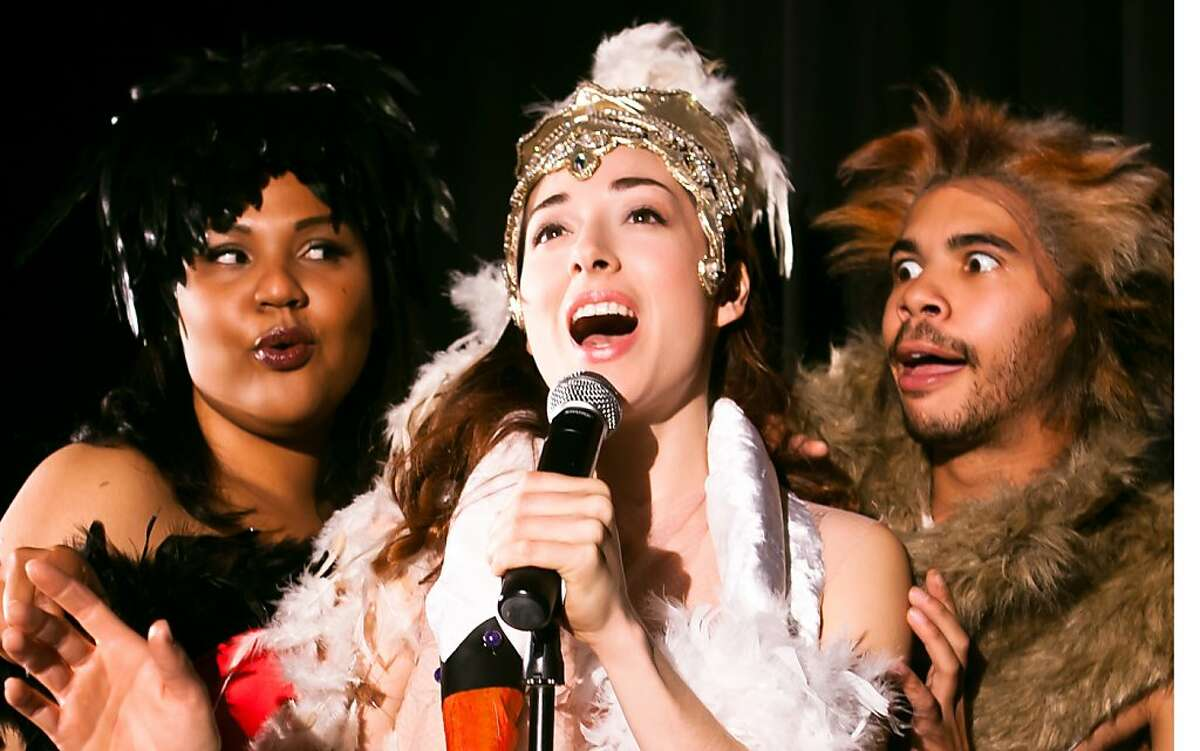 Serena (c, Naomi Hummel) sings her heart out as Goosetella (l, Nicole Julien) and Wolf (r, William Hodgson) listen in Berkeley Playhouse's production of LUCKY DUCK playing April 21-May 13 at Julia Morgan Theatre, 2640 College Ave., Berkeley. $17-$35. (510) 845-8524, ext. 351. berkelelyplayhouse.org.