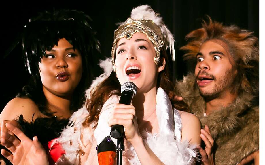 Serena (c, Naomi Hummel) sings her heart out as Goosetella (l, Nicole Julien) and Wolf (r, William Hodgson) listen in Berkeley Playhouse's production of LUCKY DUCK playing April 21-May 13 at Julia Morgan Theatre, 2640 College Ave., Berkeley. $17-$35. (510) 845-8524, ext. 351. berkelelyplayhouse.org. Photo: Jessica Palopoli