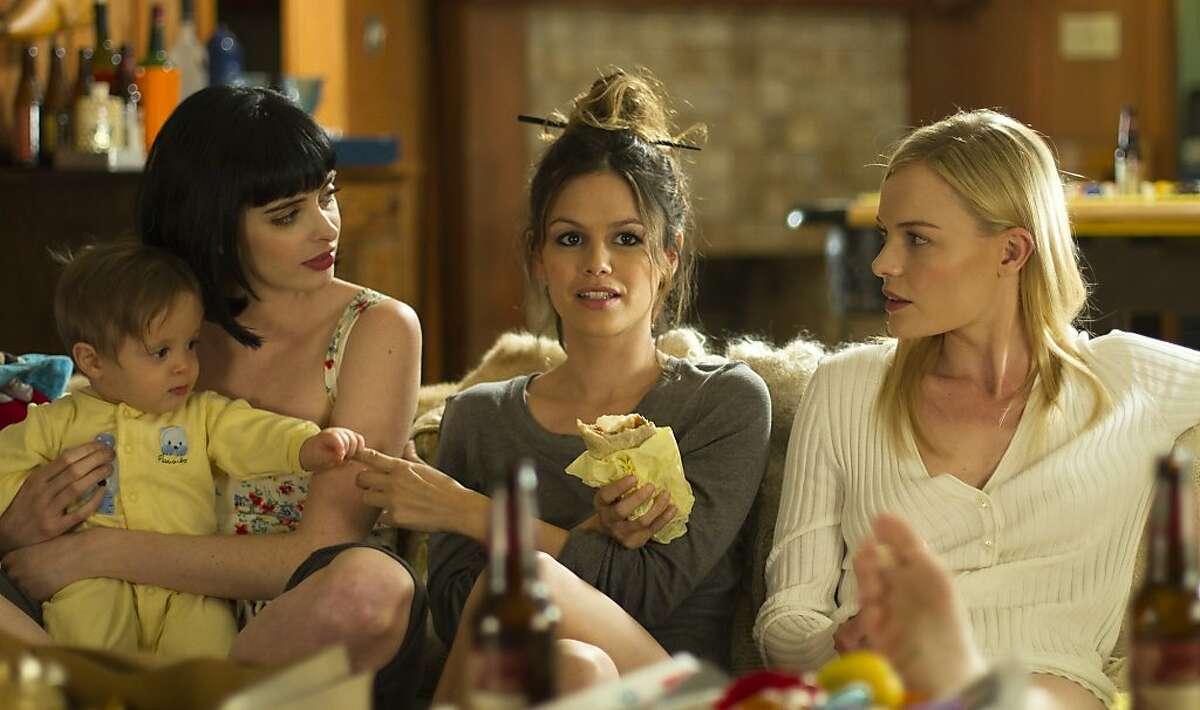 """Krysten Ritter, left, Rachel Bilson, and Kate Bosworth appear in a scene from, """"L!fe Happens."""""""