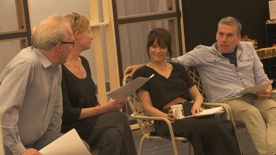 "Tracy Letts, Johanna Day, Parker Posey and Glenn Fitzgerald rehearse a scene from Will Eno's ""The Realistic Joneses"" opening at Yale Rep in New Haven Friday, April 20. Photo: Contributed Photo"