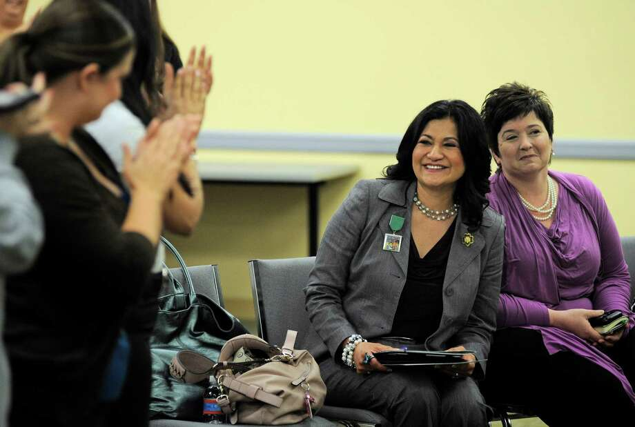 Rose Gonzáles Pérez (left) was named the new CEO of Girl Scouts of Southwest Texas. Photo: Darren Abate, For The Express-News