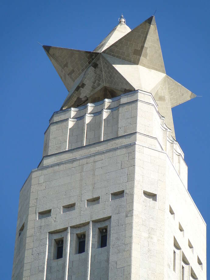 The strange nine-pointed star atop the San Jacinto monument -- designed so that, from most angles, it looks like the five-pointed Lone Star of Texas -- is roughly 34 feet tall. Made of steel, concrete and cordova limestone, it's estimated to weigh 220 tons. credit: Tracy Hobson Lehmann Photo: Tracy Hobson Lehmann / San Antonio Express-News