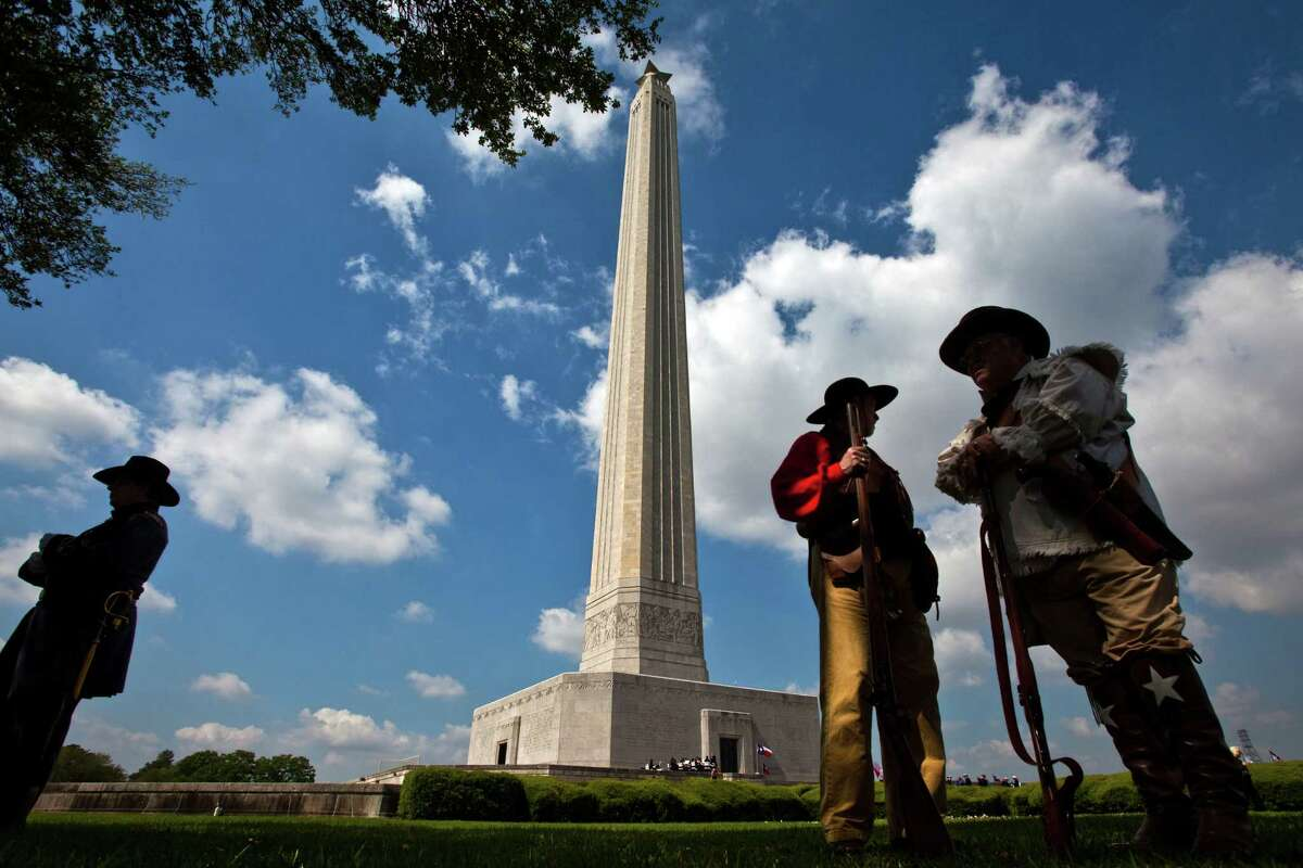 The monument, of course, commemorates the Battle of San Jacinto, in which Texas won its freedom from Mexico. This photo was taken April 21, 2010, as members of the state's Official 1836 Ceremonial and Reenactment Group commemorated San Jacinto Day. ( Smiley N. Pool / Houston Chronicle )