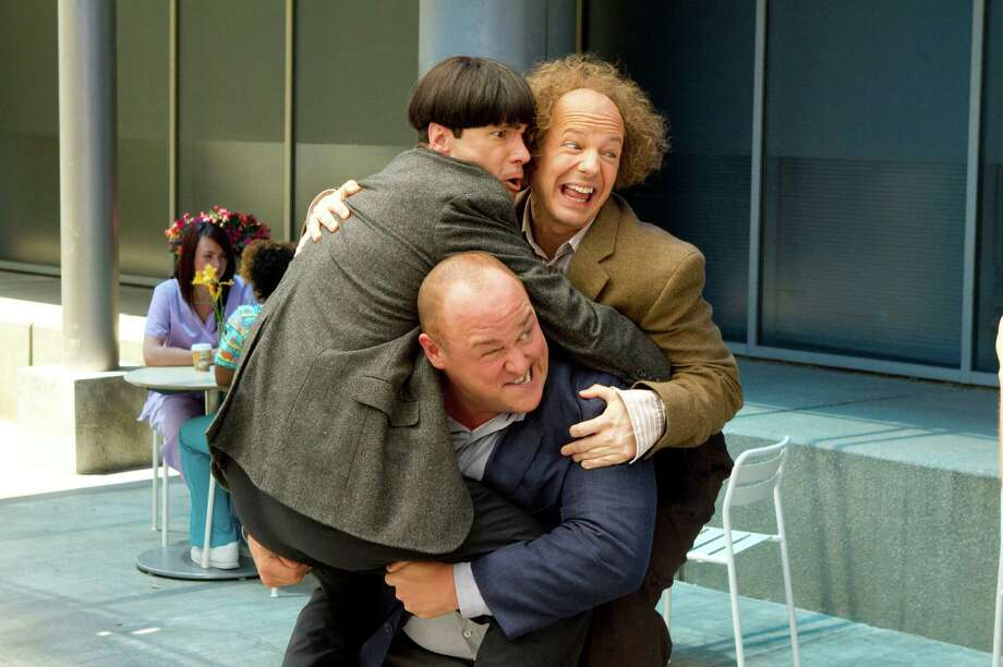 """Chris Diamantopoulos, clockwise from left, Sean Hayes and Will Sasso star in """"The Three Stooges."""" Photo: Peter Iovino / TM and © 2012 Twentieth Century Fox Film Corporation.  All rights reserved.  The Three StoogesAE name and characters are tradema"""