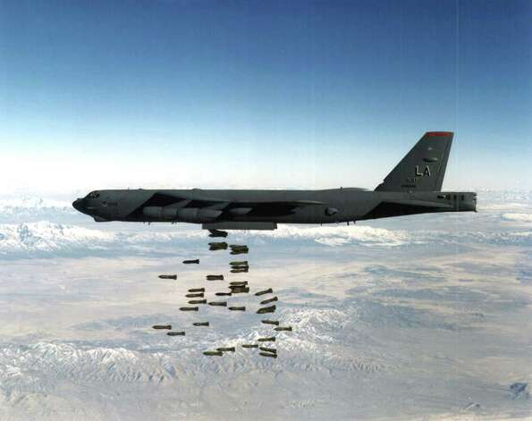 A U.S. Air Force B-52 drops bombs in this undated file photo. Photo: USAF, Getty Images / Getty Images North America