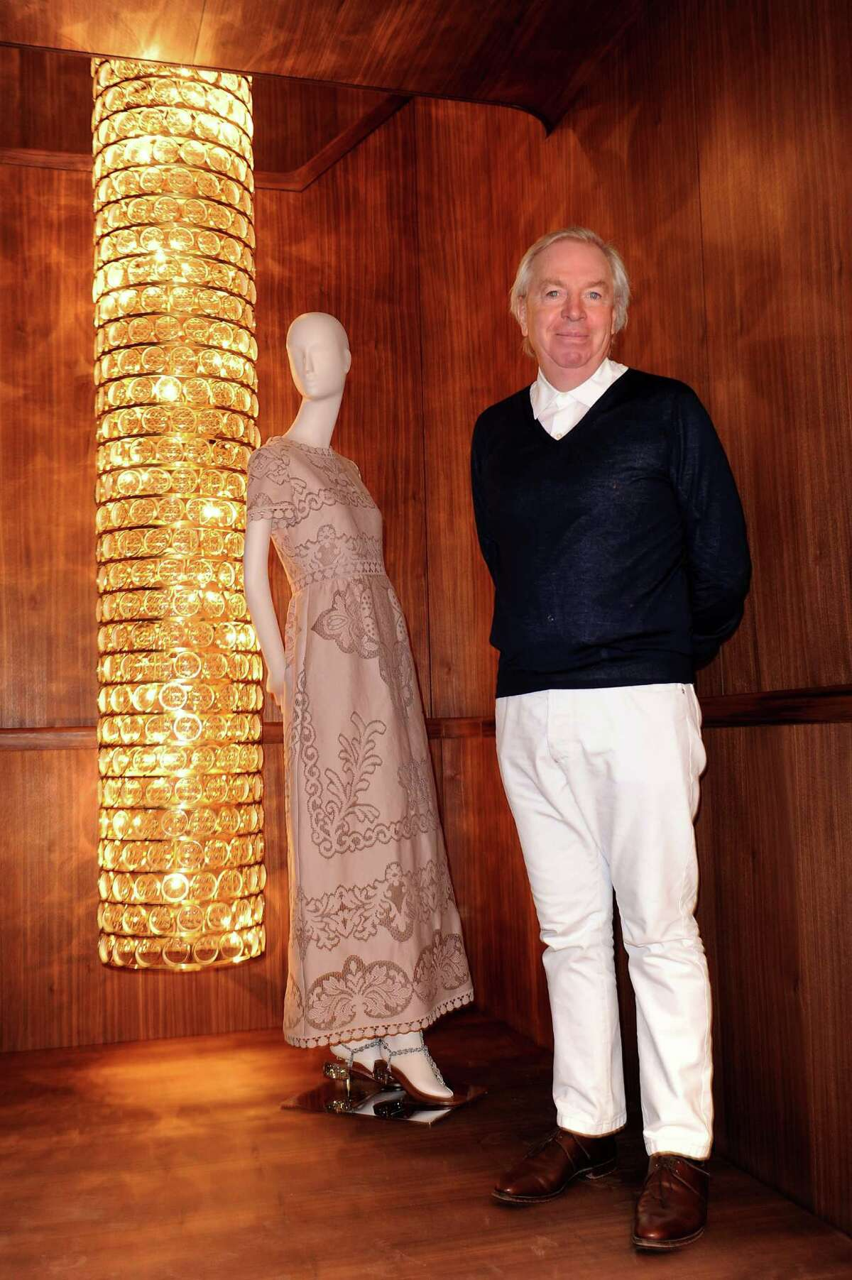 Architect David Chipperfield is at a very different place in his career: At the peak of his profession, recognized as the designer of some of the world's most praised cultural institutions (including the master plan for the Menil Collection's campus). Here he's shown at the Valentino flagship store opening on February 22, 2012 in Milan, Italy.