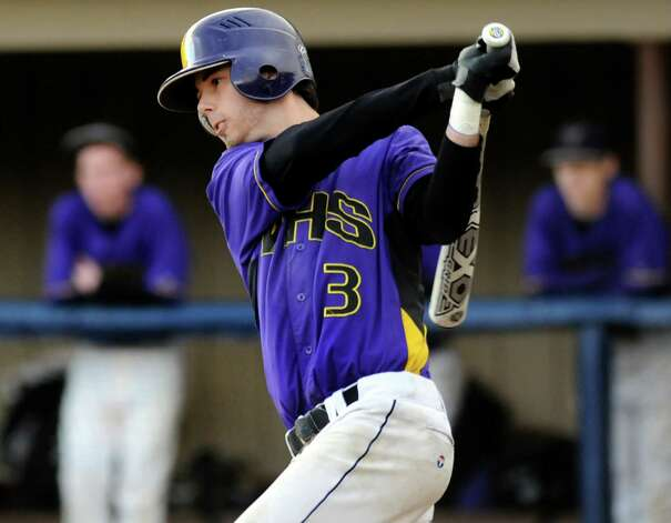 Voorheesville's Nico Church (3) bats during their baseball game on against Chatham on Thursday, April 12, 2012, at  Roger Keenholts Park in Guilderland, N.Y. (Cindy Schultz / Times Union) Photo: Cindy Schultz / 00017218A
