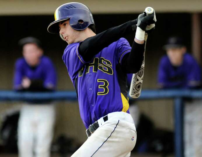 Voorheesville's Nico Church (3) bats during their baseball game on against Chatham on Thursday, Apri