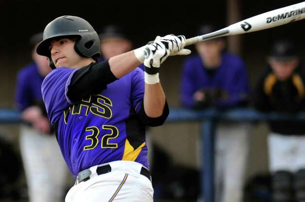 Voorheesville's MIke Chiseri (32) bats during their baseball game on against Chatham on Thursday, April 12, 2012, at  Roger Keenholts Park in Guilderland, N.Y. (Cindy Schultz / Times Union) Photo: Cindy Schultz / 00017218A