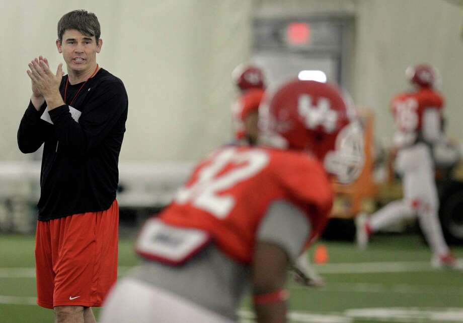 New UH offensive coordinator Mike Nesbitt likes what he has seen during spring drills. Photo: Melissa Phillip / © 2012 Houston Chronicle
