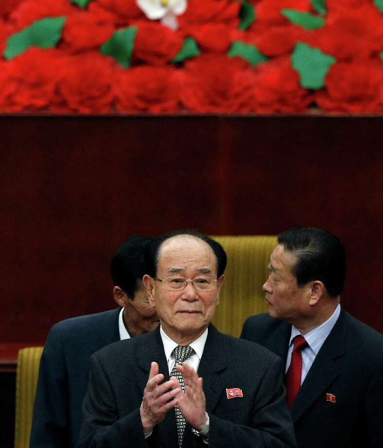 """Kim Yong Nam, President of the Presidium of the Supreme People's Assembly of North Korea, claps as he attends the World Congress on the Juche Idea held in Pyongyang, North Korea, Thursday, April 12, 2012. """"Juche,"""" or """"self-reliance,"""" is philosophy of North Korean founder Kim Il Sung whose 100th anniversary of the birth is marked on Sunday, April 15. (AP Photo/Ng Han Guan) Photo: Ng Han Guan / AP"""