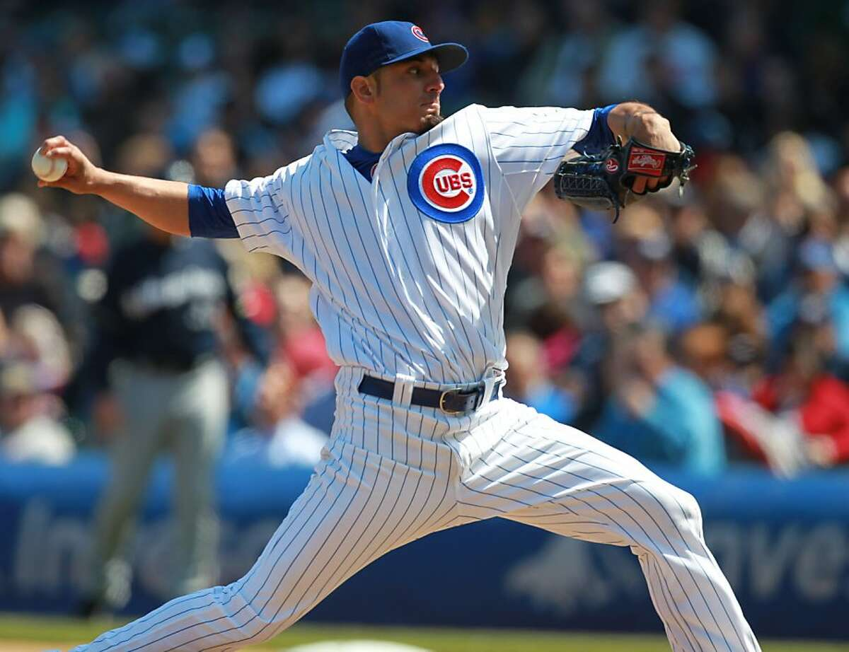 Chicago Cubs starter Matt Garza pitches in the first inning against the Milwaukee Brewers at Wrigley Field in Chicago, Illinois, Thursday, April 12, 2012. Cubs won, 8-0. (Phil Velasquez Chicago Tribune/MCT)