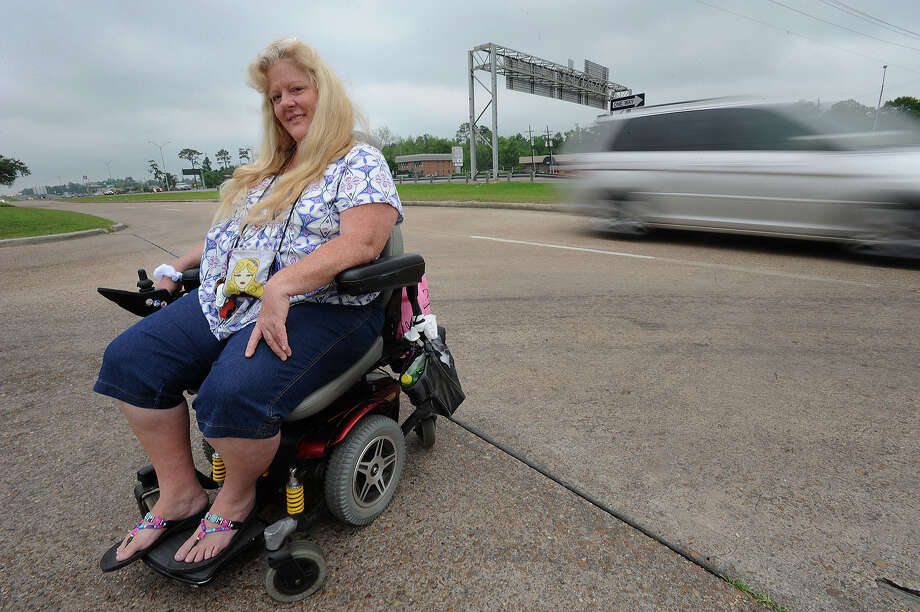 The Texas Department of Transportation will begin construction Monday on sidewalk along Texas 69 between Lucas and Delaware Streets. Terry Hickey, who is one of many that uses a motorized wheelchair along the stretch, spurred the construction with several phone calls to the city. Photo taken Thursday, April 12, 2012 Guiseppe Barranco/The Enterprise Photo: Guiseppe Barranco, STAFF PHOTOGRAPHER / The Beaumont Enterprise