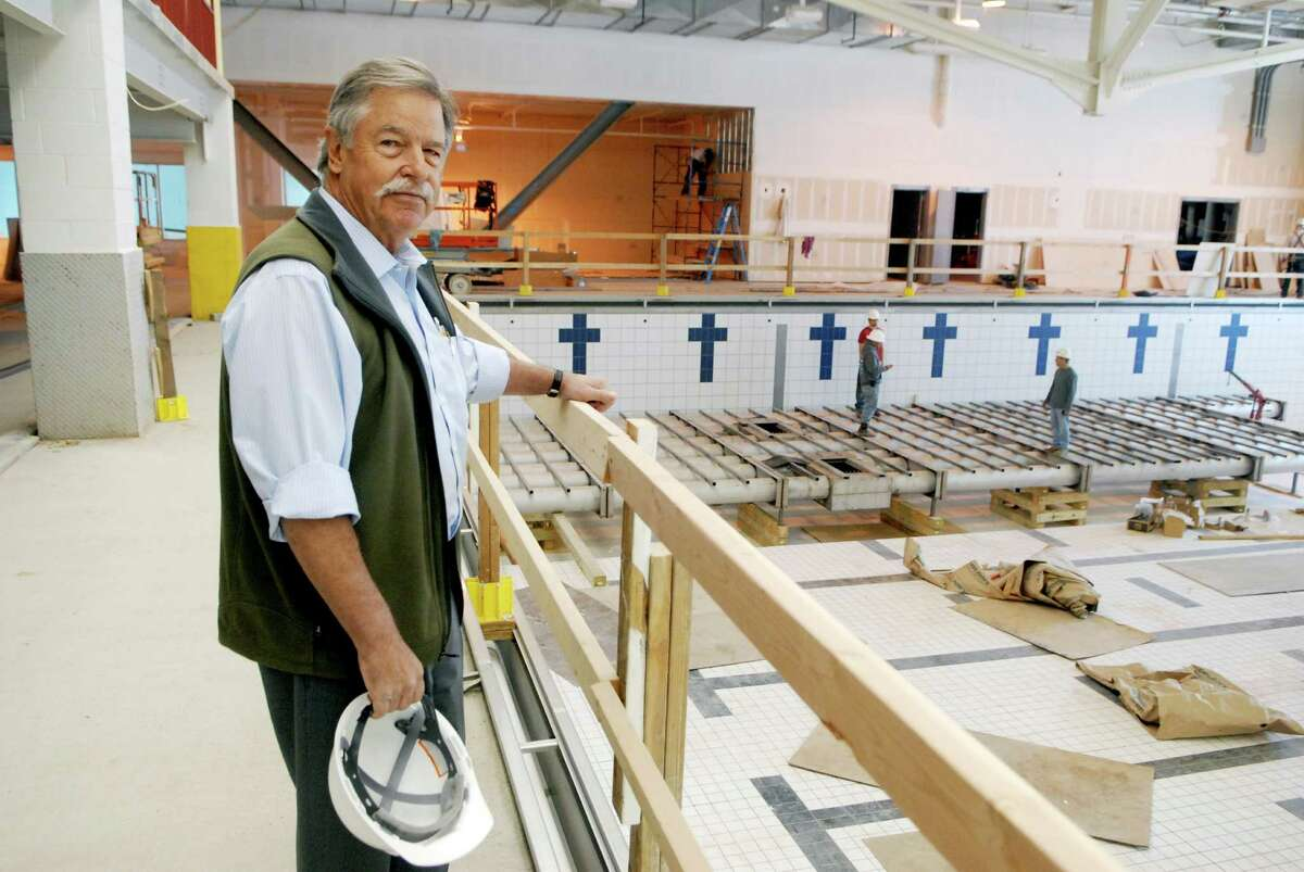 Norwalk architect Jim Rogers, designer of Chelsea Piers project in Stamford, stands by the olympics size pool under construction at Chelsea Piers in Stamford, Conn. on Friday April 13, 2012.