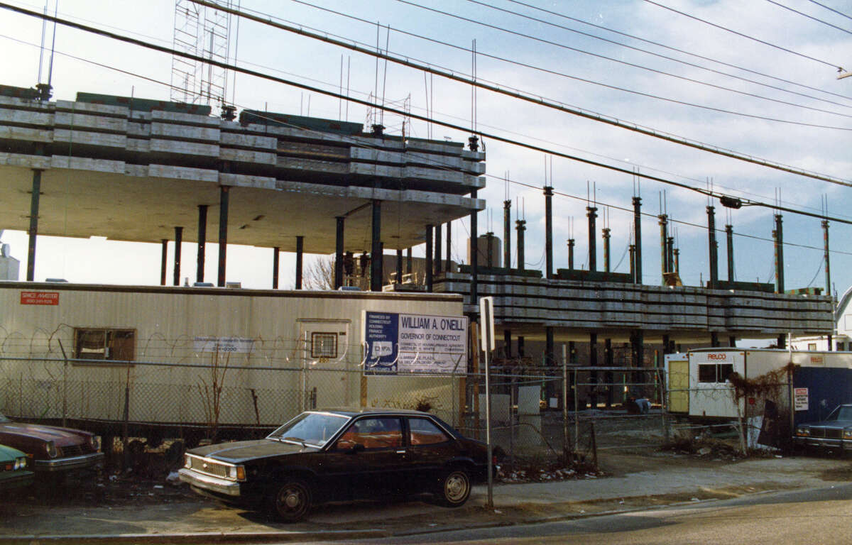 An undated file photo shows construction of L'Ambiance Plaza, in Bridgeport, Conn. The structure collapsed on April 23rd, 1987, killing 28 construction workers.