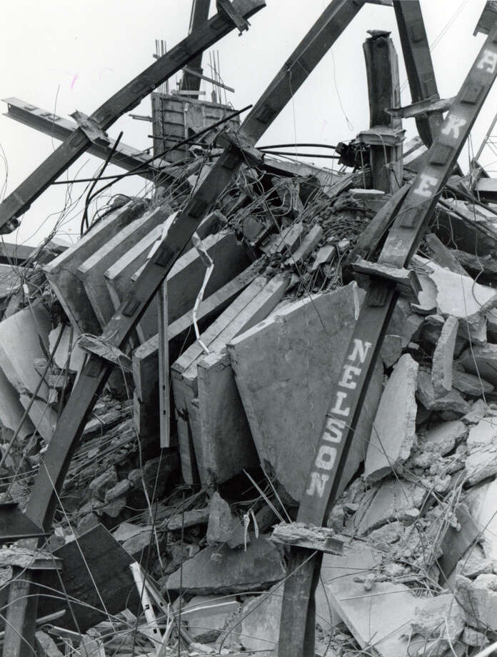 File photograph of the L'Ambiance Plaze collapse, in Bridgeport, Conn. The collapse, on April 23rd, 1987, killed 28 construction workers. Photo: Al Mathewson/File Photo