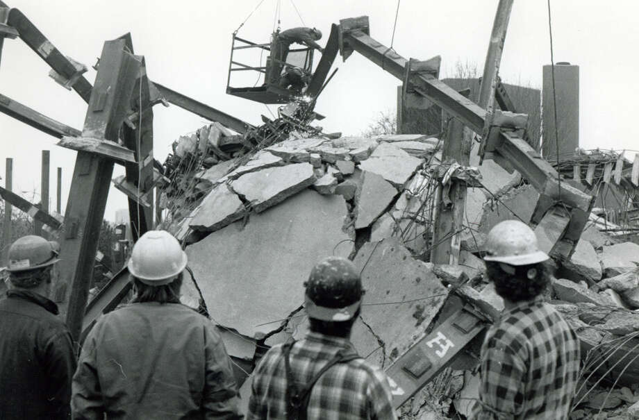 File photograph of the L'Ambiance Plaze collapse, in Bridgeport, Conn. The collapse, on April 23rd, 1987, killed 28 construction workers. Photo: Ed Brinsko/File Photo