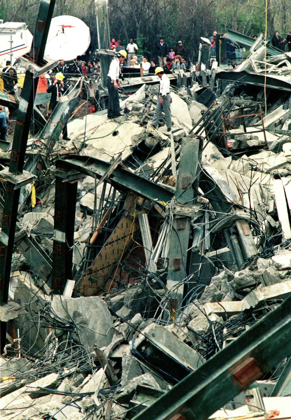 File photograph of the L'Ambiance Plaze collapse, in Bridgeport, Conn. The collapse, on April 23rd, 1987, killed 28 construction workers.