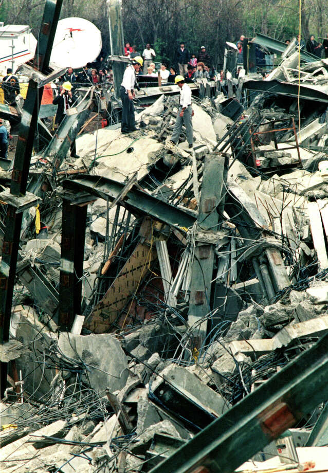 File photograph of the L'Ambiance Plaze collapse, in Bridgeport, Conn. The collapse, on April 23rd, 1987, killed 28 construction workers. Photo: Colleen O'Hara/File Photo