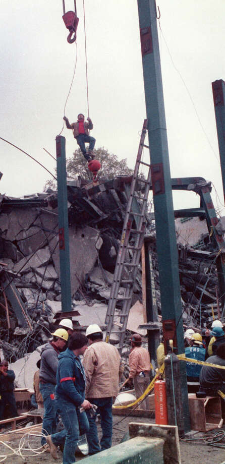 File photograph of the L'Ambiance Plaze collapse, in Bridgeport, Conn. The collapse, on April 23rd, 1987, killed 28 construction workers. Photo: File Photo