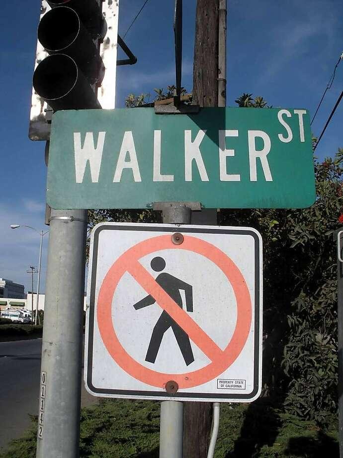 Perhaps this charming Watsonville, CA, street should be renamed Don't Walker. Photo: Adam Blauert